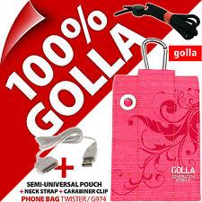 Golla pink Telefono Case Cover Pouch sacchetto per iPhone 3GS 4S + USB Dati Cavo Caricabatteria