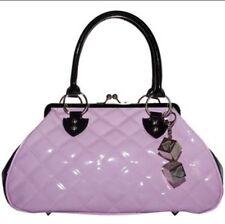 New Retro Lux De Ville Pink & Black Patent Leather Sin City Kiss Lock Handbag