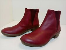 El Naturalista Nido Ankle Boots Burgundy Leather Elastic Slip On Womens Size 9.5