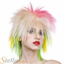 MUJER AÑOS 80 Multicolor Mujer Peluca Pop Star Neón Accesorio para disfraz