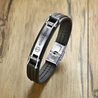 linnalove Strong Male Medical Alert Bracelets for Men and Women Stainless Steel Mangetic id Bracelets