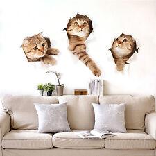 Wall Sticker Vinyl Cute 3D Kitten Cat Bedroom Fridge Decal Home Mural Art Decor