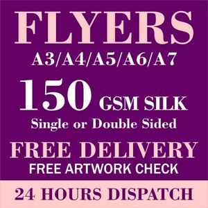 Flyers Printed Full Colour 150gsm Silk Paper A3/A4/A5/A6/A7 Leaflet High Quality