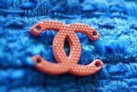 100% Chanel button 1 pieces  cc logo    emblem gold 0,6 inch pink