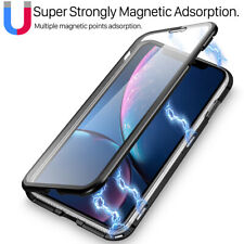 Full Tempered Glass Magnetic Metal Case Cover iPhone SE 11 Pro Xs Max XR X 7 8+