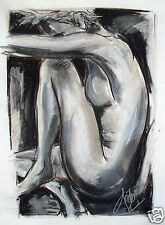 a3 nude print canvas drawing black white coa authentic by andy baker