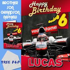 F1 MCLAREN - PERSONALISED Birthday Card Son Brother Nephew Grandson