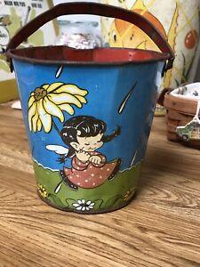 Vintage Ohio Art Tin Litho Sand Pail Girl w/ Flower And Angel Boy