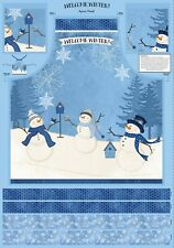Snowman Welcome Winter Apron Panel Christmas Fabric