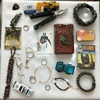 JUNK DRAWER LOT  cars, paracord, tins, cards, rings, bracelets, knife, pics