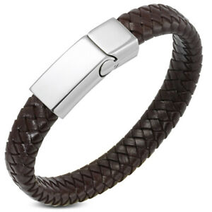 """Stainless Steel Brown Leather Silver-Tone Braided Mens Wristband Bracelet, 8"""""""