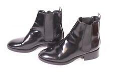 12D Zara Damen Chelsea Boots Stiefeletten Kunstleder Lackoptik Gr. 37 flach
