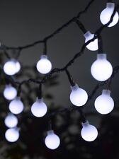 50 LED Ball String Lights White Battery Powered Outdoor Garden Lighting 5.2m