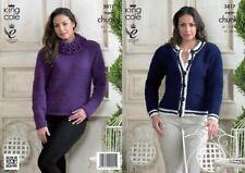 King Cole Super Chunky Knitting Pattern 3817: Sweater & Cardigan