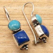 Natural LARIMAR And LAPIS LAZULI Gems Charming Earrings Blue ! 925 Silver Plated