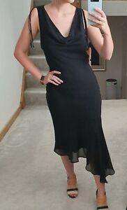 Warehouse UK 10 Black Silk Crepe Chiffon Formal Sleeveless Full-length Dress
