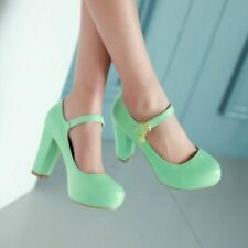 Womens Ladies Mary Janes Block High Heels Round Toe Lolita Dress Shoes Plus Size