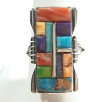 925 STERLING SILVER RECTANGLE DESIGN SPINY OYSTER LAPIS TURQUOISE SIZE 9 RING