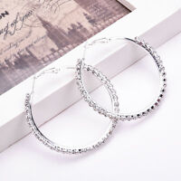 Fashion Women Silver Crystal Rhinestone Hoop Earrings Large Round Jewelry Gift