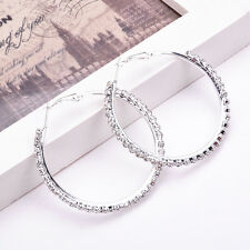 Fashion Women Silver Crystal Rhinestone Hoop Earrings Large Round Jewelry Gift