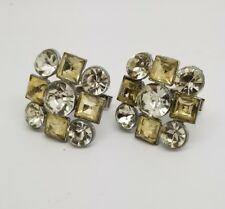 White and Yellow Rhinestone Vintage Cuff Links Bold Beautiful