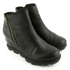 Sorel Joan Of Arctic Wedge Zip Black Boots SIZE 8