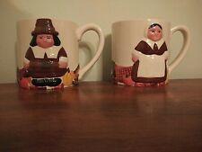 Publix Pilgrim Pair Thanksgiving / Holiday Set of 2 Large Coffee Mugs
