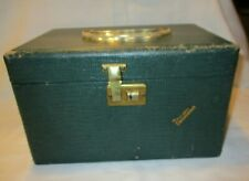 Vintage Travel Case VACATIONER Green Carry Luggage Mirror Inside