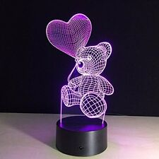 Gadgetized 3D Illusion Night Light for Kids Room 7 Color Changing Teddy Bear....