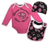 Harley-Davidson Baby Girls' 3-piece Glitter Creeper Set w/ Hat & Bib 2503921