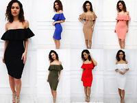 Glamzam New Womens Ladies Summer Off Shoulder Frill Bardot Midi  Bodycon Dress