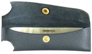 Authentic HERMES Buffalo Horn Comb Hair Grooming Brush w/Navy Leather case