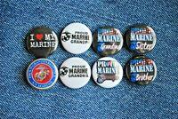"Proud Grandpa Grandma Sister Brother 1"" Pinback Button US Marine Corps USMC"