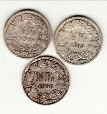 SUISSE LOT 1/2 FRANCS 1898/1900/1906