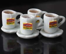 DOLLHOUSE MINIATURES 4 CUPS OF HOT LIPTON TEA FOOD SUPPLY DECO BEVERAGE DRINK