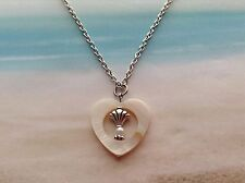 NAUTICAL MOTHER OF PEARL HEART SHELL CHARM PEARL BEAD PENDANT CHAIN JEWELLERY