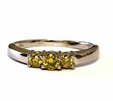 14k white gold .45ct SI2 yellow treated diamond 3-stone ring 2.9g estate womens