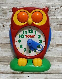 Vintage Tomy Owl Clock 1990 Educational Learning Time Teaching Homeschool Works