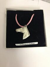 Horse Head E09 Horse & Equestrian Motif Pewter  PENDENT ON A PINK CORD Necklace
