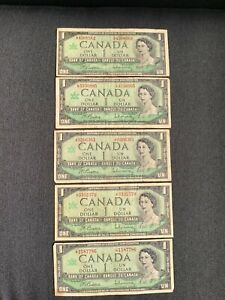 Canada One Dollar $1 (1967) WITH SERIAL - 5 Well Circulated Notes - L1