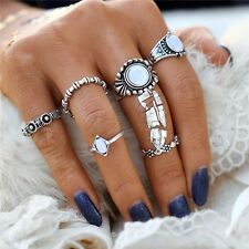 SILVER VINTAGE STYLE RETRO RING SET 6 PC RING SET BOHO CHIC RING SET STACKABLE