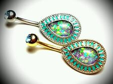 Jewelry 14g Gold Acrylic Opal Green Belly Button Naval Belly Ring Dangle