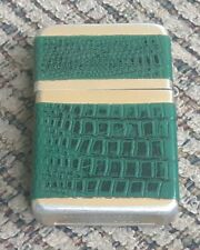 Storm King Gold Tone With Green Leather Cigarette Lighter Park Sherman Windproof