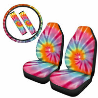Tie Dye Car Seat Covers Full Set Auto Steering Wheel with Belt Pad 5pack Decor