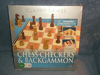 CLASSIC GAMES - CHESS  CHECKERS & BACKGAMMON W/ STAUNTON STYLE CHESS PIECES 2007