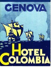 Genova Hotel Colombia Genoa Italy 1937 1930s Old Brochure