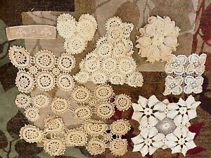 Vintage Lot Of 25 Assorted Hand Crocheted Doilies
