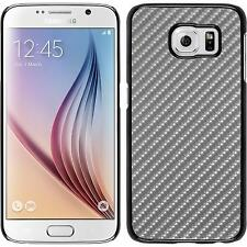 Hardcase for Samsung Galaxy S6 carbon optics silver Cover + protective foils