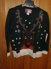 """UGLY"" CHRISTMAS SWEATER - WOMEN - ""REINDEER"" - GREEN - SIZE XL  (XS-4-XLx)"