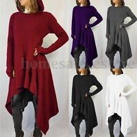 Fashion Ladies Womens Long Sleeve Asymmetrical Hem Waterfall Hoodies Shirt Dress